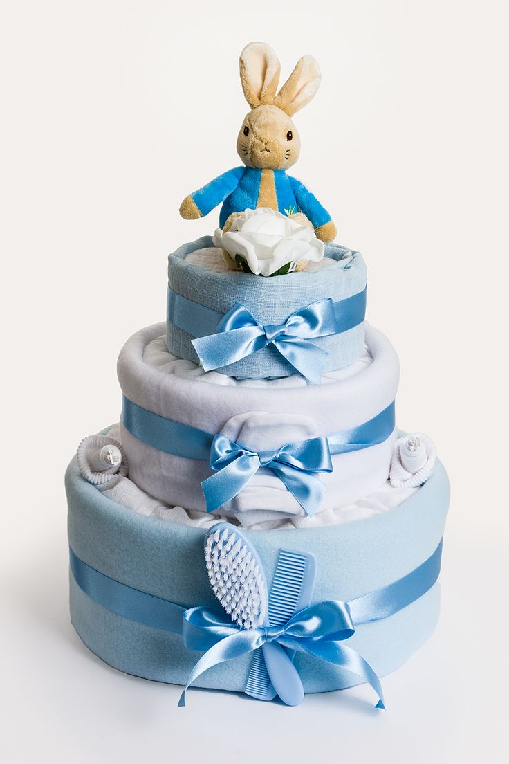 Baby's first Peter Rabbit from Beatrix Potter is a very special gift for a mum-to-be who is expecting a baby boy. In this gift you will find some baby essentials and a cleverly disguised and original Peter Rabbit baby keepsake capsule, perfect for treasuring baby's first memories.  A gorgeous gift idea for a baby boy. https://www.belovedcreations.co.uk/collections/nappy-cakes-for-boys/products/peter-rabbit-3-tier-nappy-cake