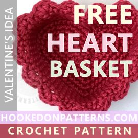 Free crochet heart basket pattern from Hooked On Patterns. This pattern uses my free heart coaster pattern as the base to create cute baskets. Create different sizes baskets by simply changing your yarn and hook size. The PDF download includes guides to make scented heart pouches and pockets too!