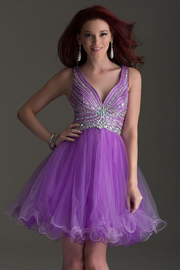 2015 Sexy Homecoming Dress V Neck A Line Short/Mini With Beads Tulle