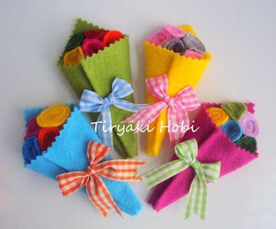 ♥ Tiryaki Hobi  ♥: Keçe bebek şekeri / doğumgünü magneti - çiçek buke...