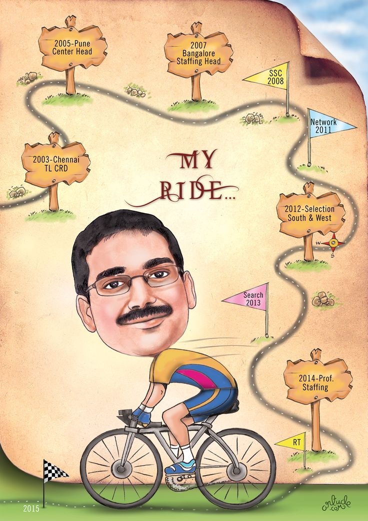 Farewell gift for boss. We could depict his career journey from beginning to end through this caricature.