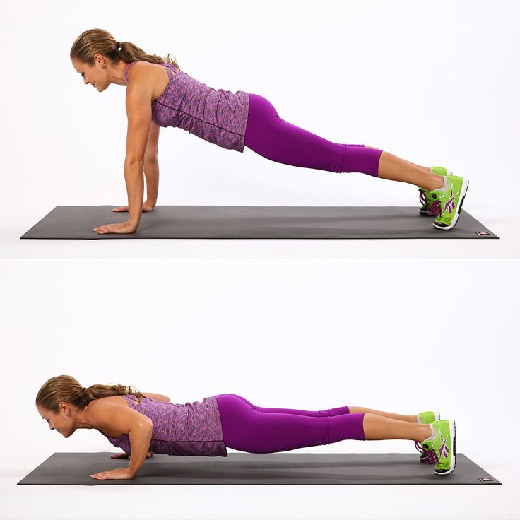 Basic Push-Up: A basic push-up, with the hands directly under the shoulders, is a challenge all on its own. Whether you do it with straight legs or knees on the floor, you'll strengthen and tone the muscles in your arms, upper back, and core.