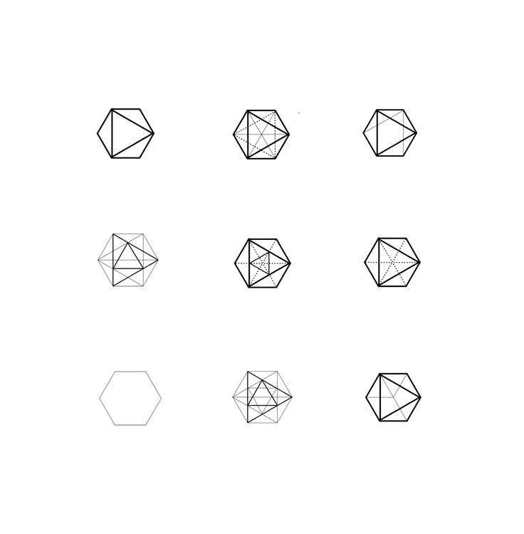 Geometric shapes blackwork design. Hexagon triangle linework.