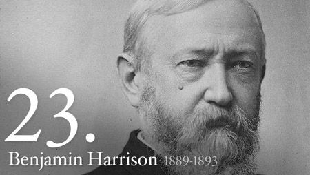 "Benjamin Harrison was born on August 20, 1833.  Nominated for President on the eighth ballot at the 1888 Republican Convention, Benjamin Harrison conducted one of the first ""front-porch"" campaigns, delivering short speeches to delegations that visited him in Indianapolis. As he was only 5 feet, 6 inches tall, Democrats called him ""Little Ben""; Republicans replied that he was big enough to wear the hat of his grandfather, ""Old Tippecanoe."""