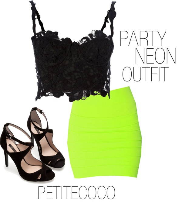 """""""NEON OUTFIT"""" by petitecoco20 ❤ liked on Polyvore"""