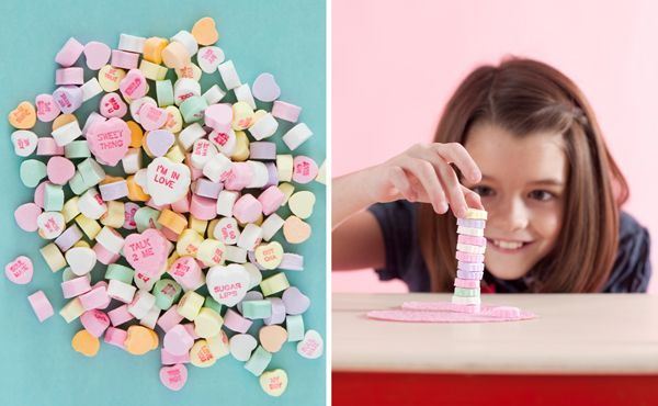 Valentine's Day classroom party ideas. Stacking hearts and chopsticks hearts.