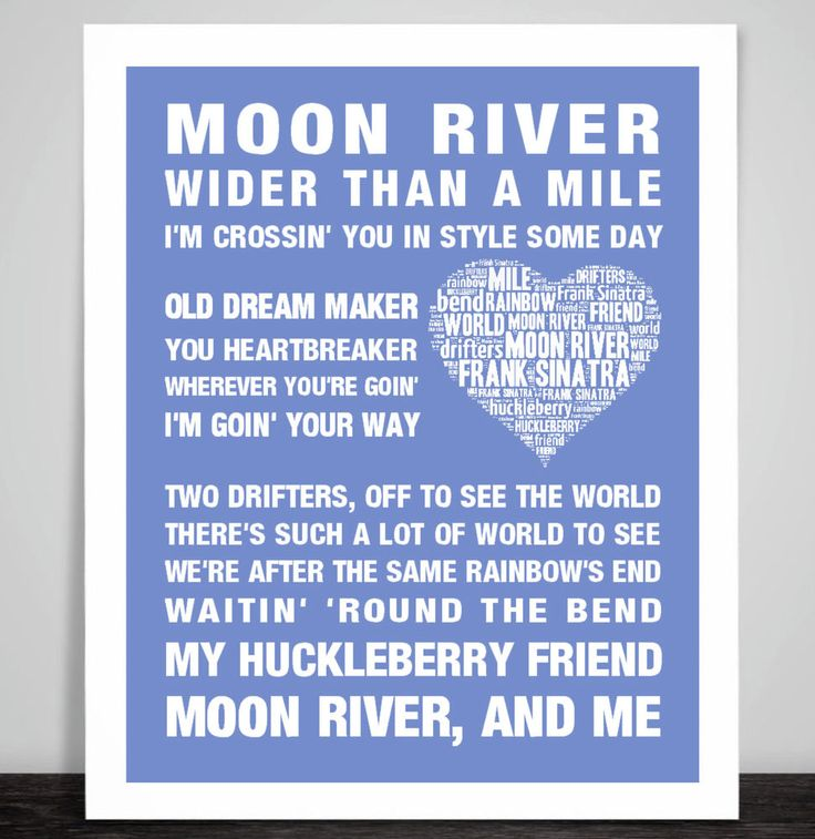 Frank Sinatra Moon River Music Song Lyric Print Poster Art Valentine Wedding