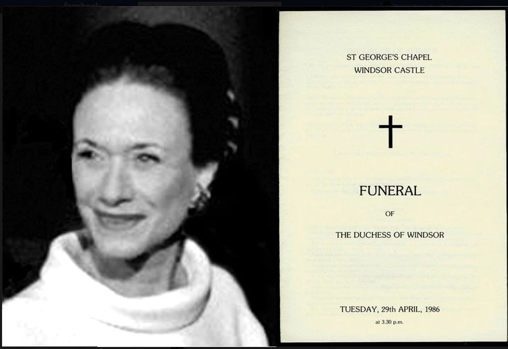 Funeral card for Duchess of Windsor