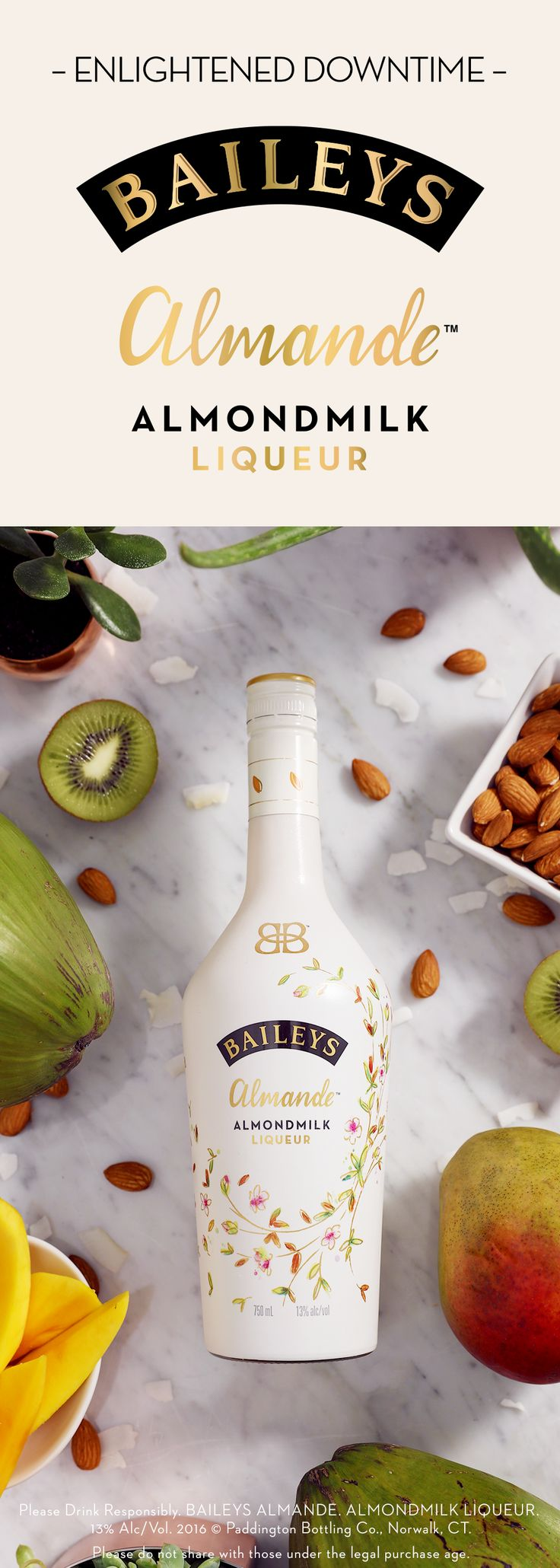 Dairy-free and gluten-free, new Baileys Almande™ is a shamelessly good alternative when you're in the mood for a sweet yet light-tasting cocktail. This almondmilk liqueur makes for some delicious drink recipes! Just add Baileys Almande™ to a rocks glass with ice, Vita Coco Coconut Water, or your favorite smoothie.