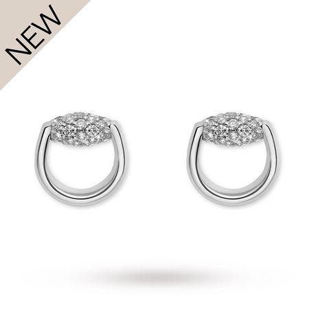 For Her - Gucci Horsebit Diamond Stud Earrings - YBD39090200100U