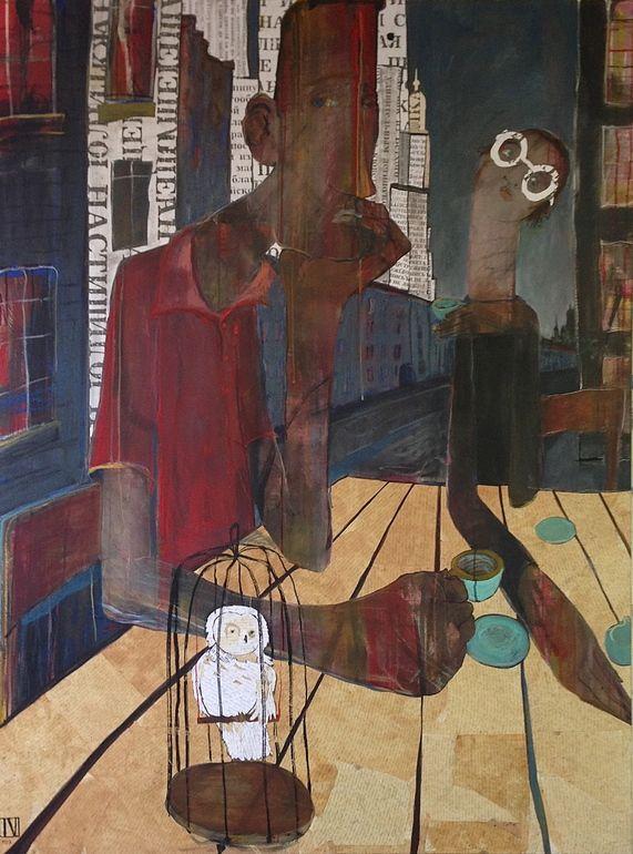 "Saatchi Online Artist: Ilya Volykhine; Oil, 2013, Painting ""The White Owl, 2013"""