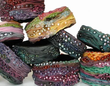 INSPIRATION Bangles from Silk and gemstones, colored pearls.