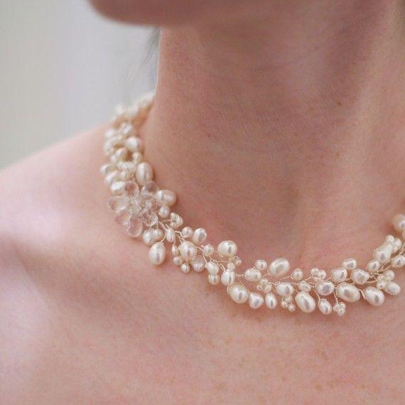 Freshwater Pearl with Crystal Flower by VirginiaGeigerJewels, $110.00
