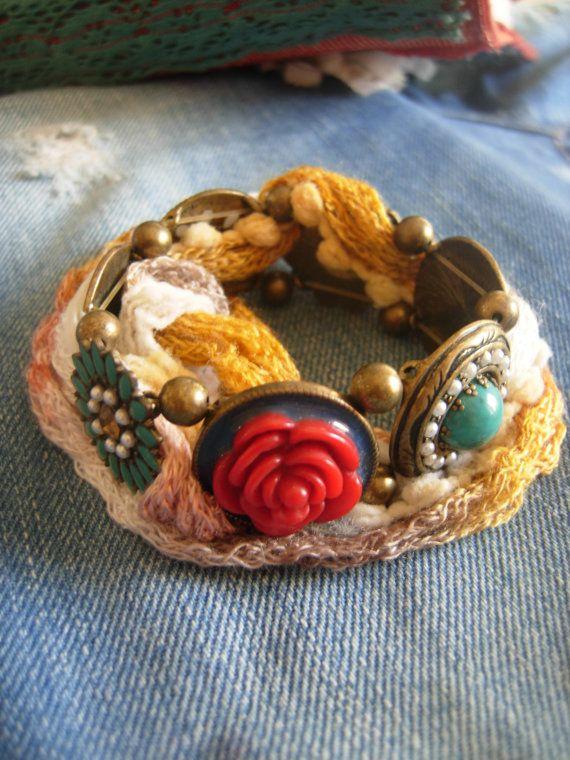 Summer boho/hippie/gypsy elastic wrap bracelet by eltsamp on Etsy, $44.00