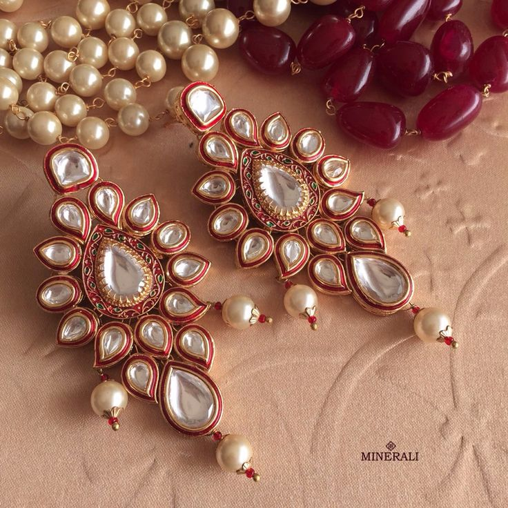 We're crushing on this magnificent set of earrings with kundans and a hint of red. By Ra Abta, available at Minerali. #minerali_store #earrings #glam #jewellery #accessories #fashion #style #designer #raabta #love #linkingroad #bandra #minerali