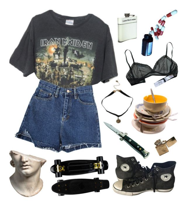 """""""listen to iron maiden baby with me"""" by toofabuforyou ❤ liked on Polyvore featuring Brandy Melville and Converse"""