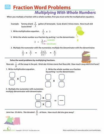 Fraction Multiplication Word Problems Unit Content Ideas