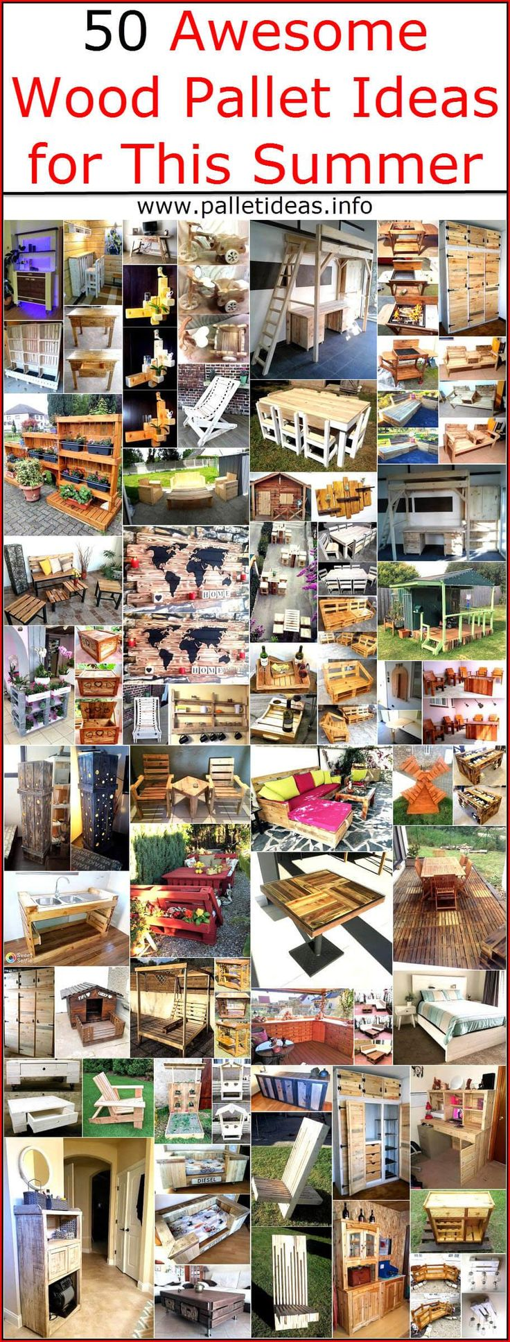 Wise people never run to the market when they purchase a new home or when they need furniture for completing the home because they know there are materials available which can be modified to get the furniture for fulfilling the requirement in the home. Wood pallets are one of the best materials that can be restyled for getting the innovatively designed furniture and other items of daily use. Here we are going to show you 50 awesome wood pallet ideas, which are easy to copy and are shown…