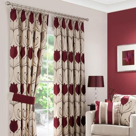 Burgundy And Cream Curtains Lounge Funky Home Decor In 2018 Pleated Pencil Pleat