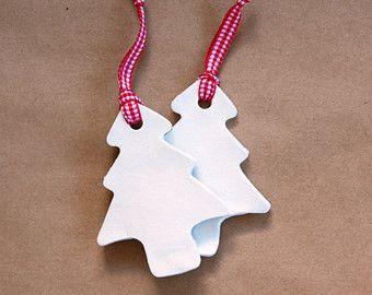 Arbre de Noël en céramique ornement - mignon argile fête décoration - rouge et blanc décor De vacances