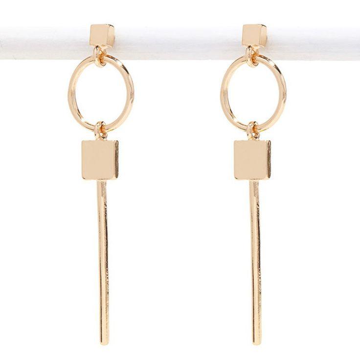 2016 design exaggerated geometry key circle stud earrings Female earrings eardrop Ms popular retro fashion stud earrings