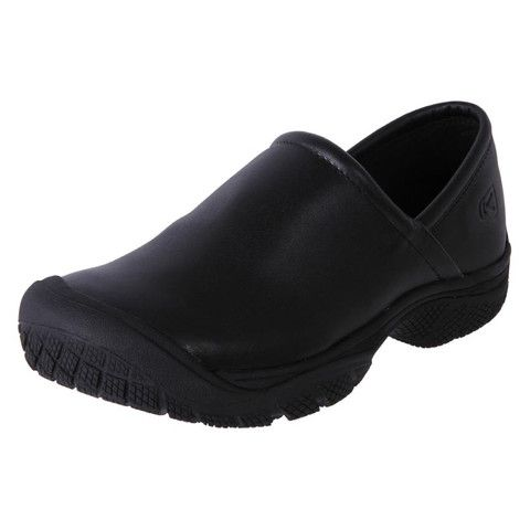 Keen Mens Leather Oil/Slip Resistant Safety Work Shoes Slip On PTC BLACK | The Shoe Link