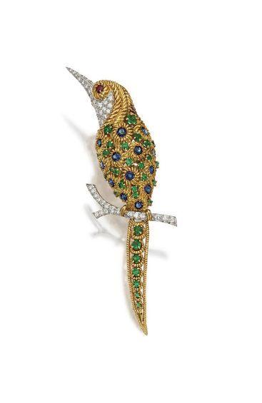 18 karat gold, colored stone and diamond bird brooch, Van Cleef & Arpels, circa 1960