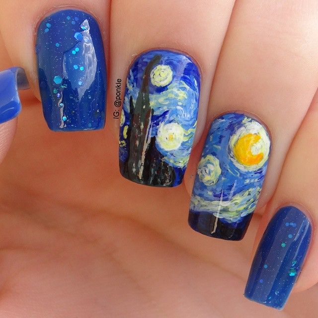 Best 25 nail art galleries ideas on pinterest nail art nail art inspired by van goghs starry prinsesfo Images