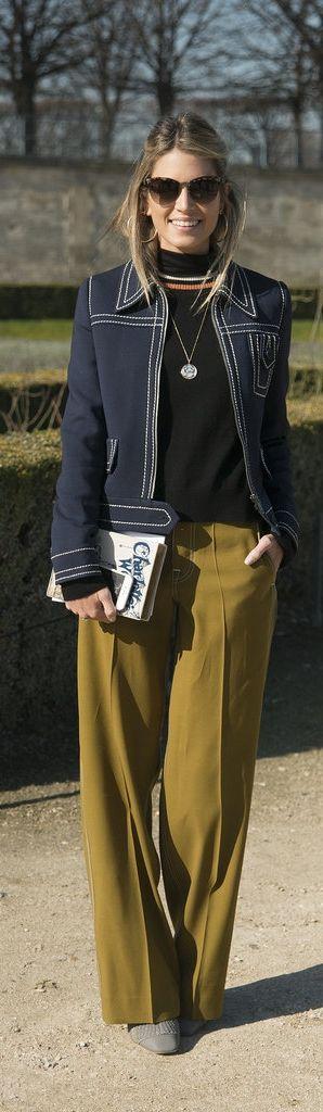 Paris Fashion Week street style: Helena Bordon wearing a Prada jacket, Céline trousers, and Dior Boots