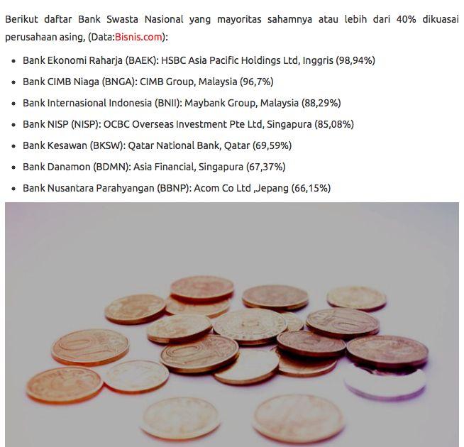 Kepemilikan asing di Bank-bank swasta Indonesia.