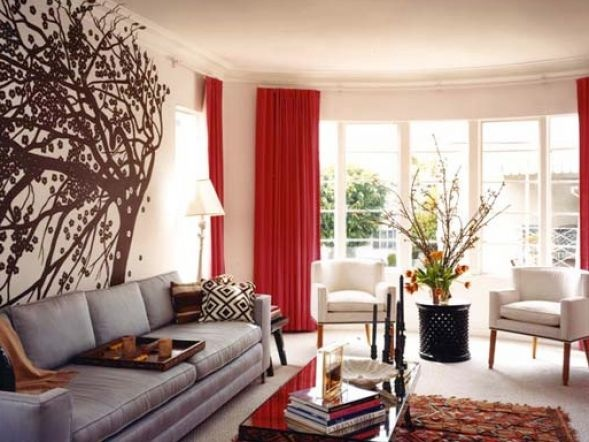 Wall Decor: Magnificent Modern Style Luxury Home Wall Murals Grey Sofa Red  Curtain, Wonderful Model, Wall Decoration