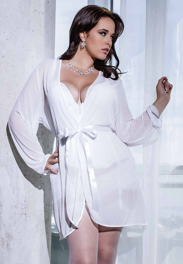 Plus Size White Satin Mesh Robe