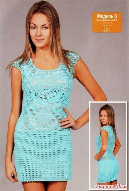 Голубое платье. Предоставила Стецюк А. В. Размер: 36.  Потребуется: 600 г голубой пряжи (100 % котон, 430 м/100 г), крючок № 1,5.