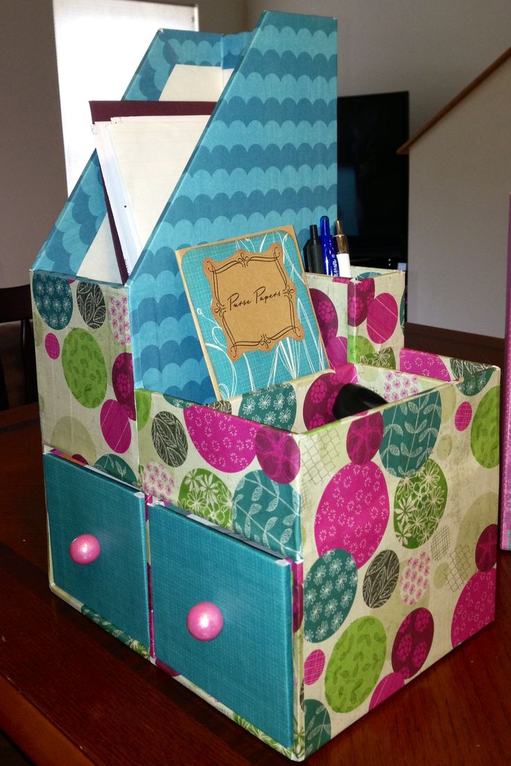 Scrapbook ideas recycled - Desk Organizer Foam Board Scrapbook Paper Organizador De Escritorio Reciclaje Diy