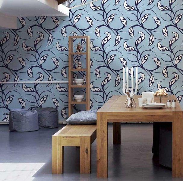 Carta da parati anni 70   Floreal Blue - Spidersell Italia   Decorazione creativa