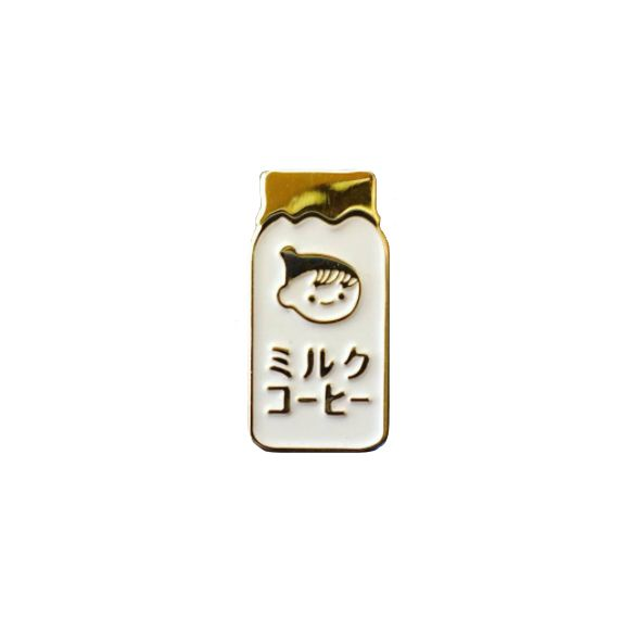 """1""""+white+and+gold+soft+enamel+pin+with+yellow+rubber+backing.    Try+to+find+one+of+these+drinks+in+a+vending+machine+in+Japan+^_^    Edition+of+100."""