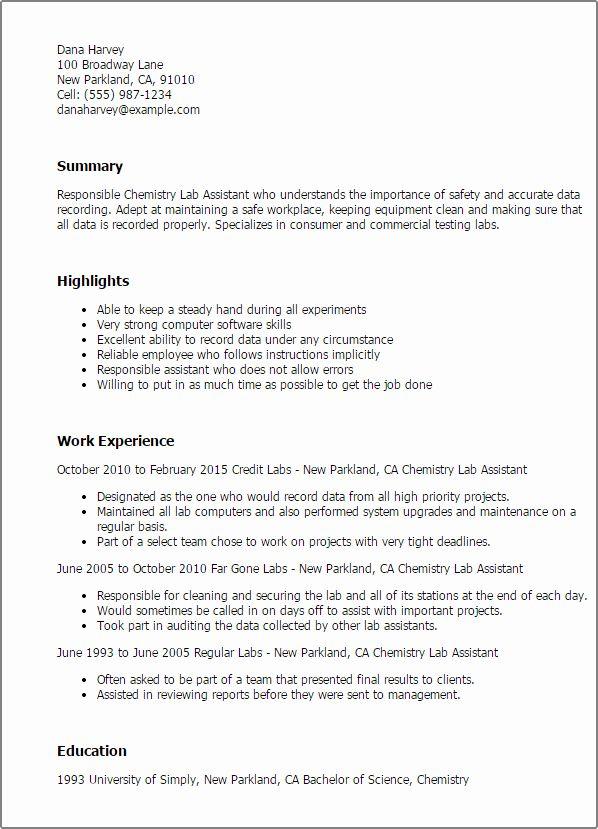 Chemistry Lab Technician Resume Luxury Science Resume Templates To Impress Any Employer Chemistry Labs Sample Resume Resume Skills