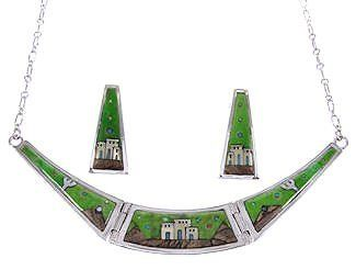 "Multicolor Native American Village Or Pueblo Design Necklace Earrings Jewelry Set GS62296 SilverTribe. $329.99. MEASUREMENTS: Necklace measures approximately 18-1/4"" inside circumference, allowing the side links measure approximately 1-3/4"" long and 1/2"" at widest point. The center link measures approximately 1/2"" long and 1-1/2"" at widest point. Post earrings measure approximately 1-1/8"" long and 1/2"" at widest point.. Southwestern Jewelry. Multicolor Native Ame..."