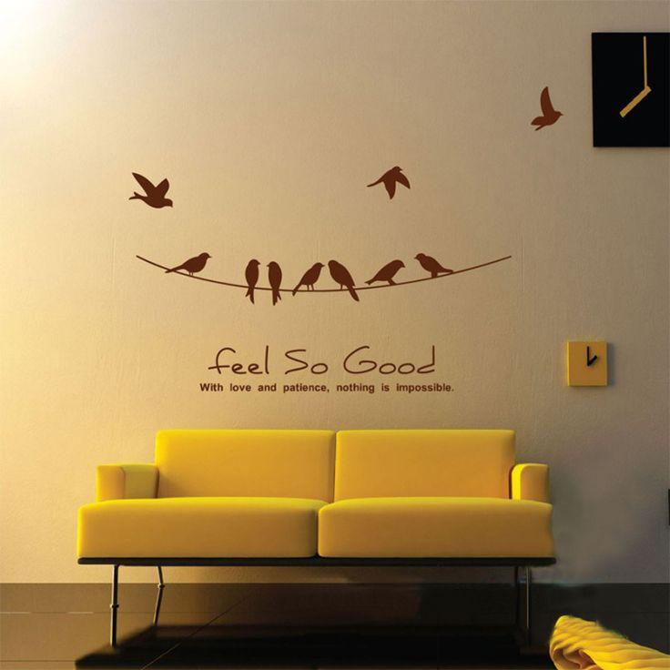 Чувствовать себя Так Хорошо, любовь и Терпение с Птицы на Проводе, Наклейки На стены Котировки Виниловые Наклейки Дизайн Настенные Украшения Гостиная