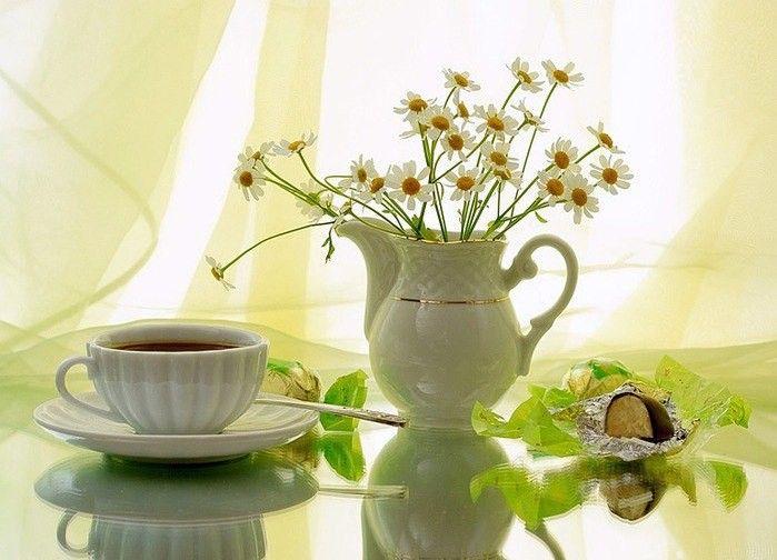 Открытка с зеленым чаем доброе утро, открытки рисованные открытки