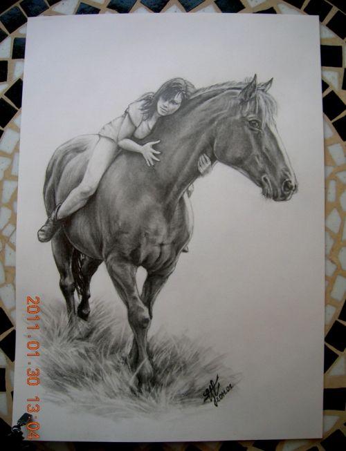 dziewczyna rysunek   dziewczyna na koniu - Rysunek - CentrumRekodziela.pl