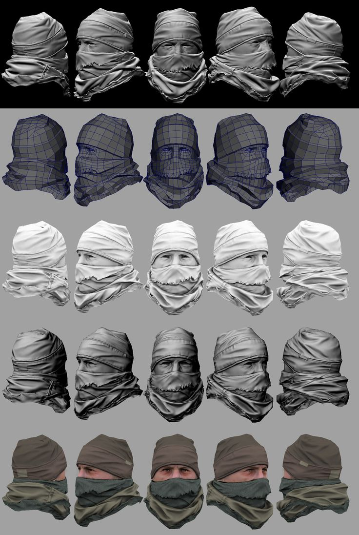 Made for Guerrilla - Sony Computer Entertainment. Here are some steps I used to create one of the ISA Infantry ICE head variants. Starting with ZBrush at the top and ending with a real-time mesh at the bottom. This head would be combined with the ISA Infantry Base Body.