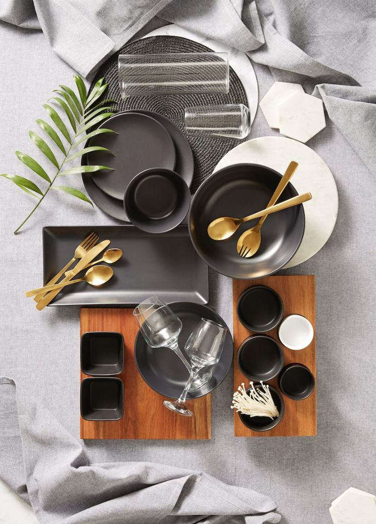 kmart august 2016 - black and grey dinnerware with gold cutlery on the life creative
