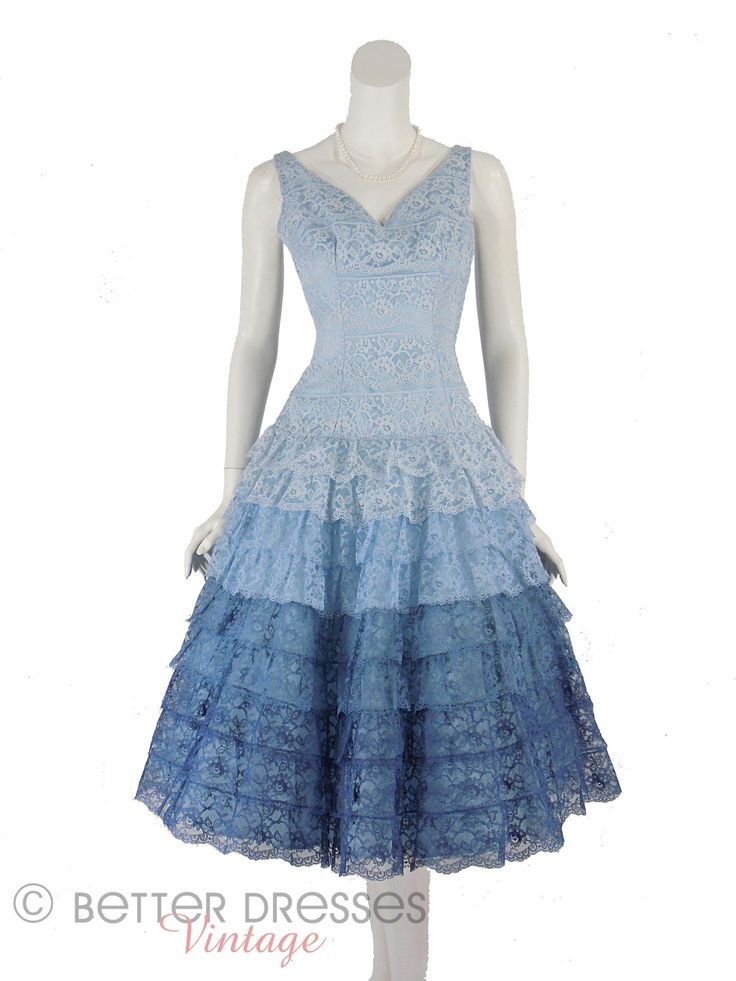 50s Party Dress Blue Lace Full Skirt Nip Waist- sm by Better Dresses Vintage