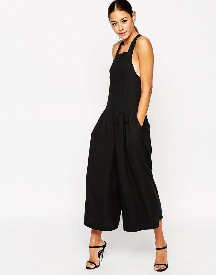 ASOS Pinafore Jumpsuit with Culotte Wide Leg