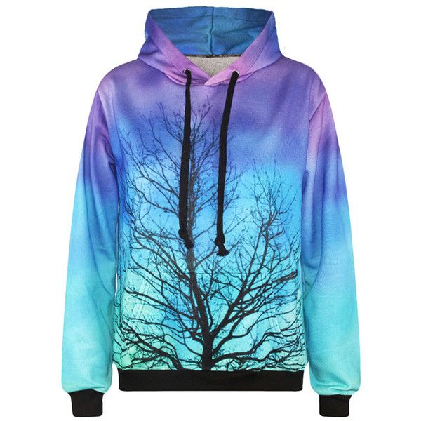 Womens Long Sleeve Galaxy Tree 3D Digital Print Pullover Hoodie Blue ($19) ❤ liked on Polyvore featuring tops, hoodies, blue, hooded pullover, hoodie pullover, galaxy hoodies, galaxy hoodie and hooded sweatshirt