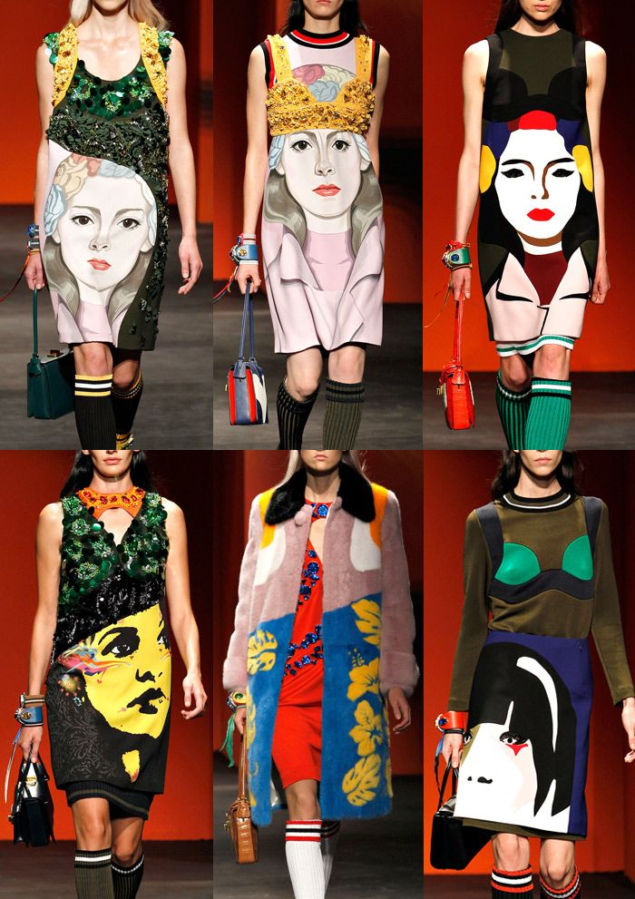 Prada S/S 2014-Illustrative Style – Art Mural Portraits – Crafted Abstract Shapes – Bold Colour Combinations – Stencil Cut-outs – Collage Simplicity – Spec... Постмодернизм - возвращение с переосмыслением.