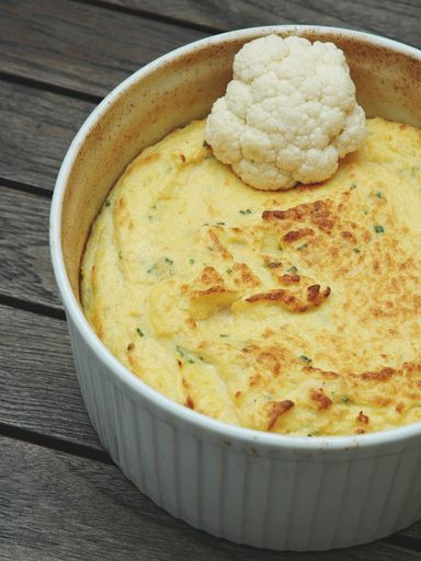 HEALTYFOOD  Diet to lose weight  Recette : Soufflé de chou-fleur et dés de jambon