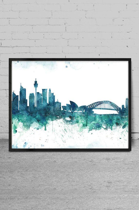 Sydney art Watercolor Art print Sydney skyline Wall by MyVisualArt