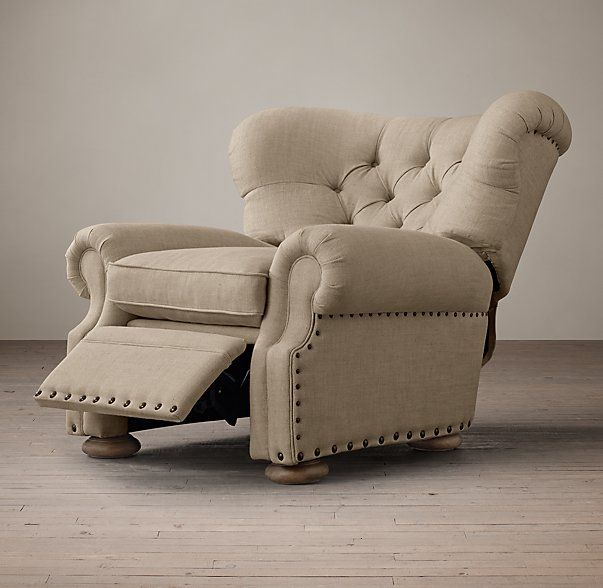 Churchill Upholstered Recliner with Nailheads - loved this stylish recliner but colors are plain and drab. Considering the cost, too bad there isn't more variety in upholstery options.